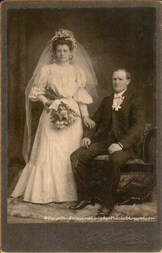 Late 1890s newlyweds - love her dress, gorgeous head piece, and veil.