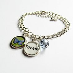 Dream Quote Blue Butterfly Charm Bracelet by BecauseofAnnie