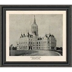 "East Urban Home 'State Capitol; Hartford; Connecticut; 1893' Framed Print Size: 18.59"" H x 22"" W x 1.5"" D"
