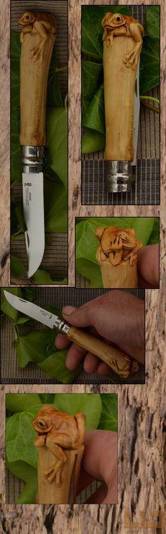 Gerdil Лоран - Скульптура - Животные Opinel № 8 самшит ручка резные и выветривания.