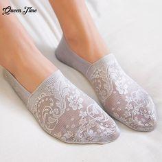 a54f0c6214aa 1 пара модные женские туфли обувь для девочек Летний стиль кружево цветок  короткие носки невидимое нескользящее