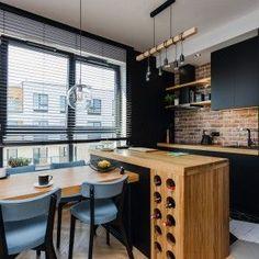 Home Decor Kitchen, Kitchen Interior, Interior Design Living Room, Kitchen Design, Black Kitchens, Cool Kitchens, Brick Tiles, Small Apartments, Small Spaces