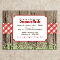 Picnic Invitation - Rustic Picnic Invitation - Company Picnic Invitation - Picnic Invite - BBQ Invitation - Cookout - DIY Printable JPEG on Etsy, Invitation Templates Word, Invitation Maker, Printable Invitations, Business Invitation, Invitation Wording, Invitation Ideas, Card Templates, Picnic Invitations, Rustic Invitations