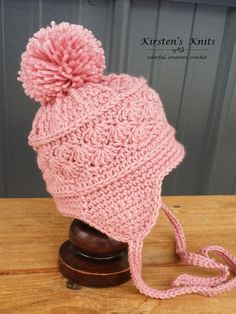La Vie en Rose earflap or ski hat 3-6 months, side