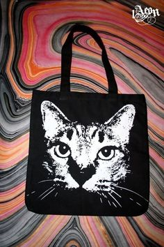 black tote cat bag from etsy seller 1aeon $20.00