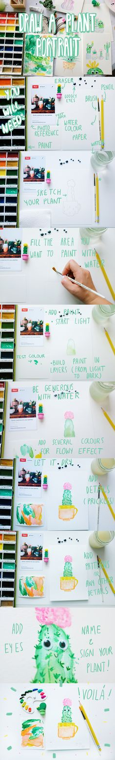 DIY Paint a watercolour plant portrait. Would you like to draw your favourite plant portrait? Or maybe you would like to create an imaginary succulent portrait you can't kill (for those with no green fingers). Follow the instructions to draw your plant, cactus, succulent portrait. Don't forget to add googly eyes! Enjoy!