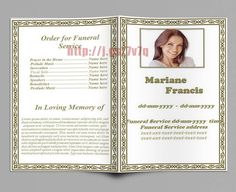 obituary memorial and funeral program template funeral program