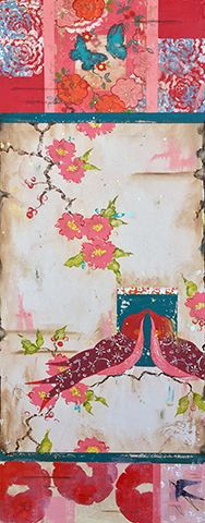 "Kathe Fraga Art, inspired by the romance of vintage French wallpapers and Chinoiserie with a modern twist. ""Passion"", 40x16 on frescoed panel. www.kathefraga.com"