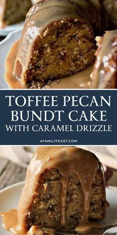 This easy Toffee Pecan Bundt Cake with Caramel Drizzle delivers on so many levels! A moist sweet brown sugar cake is full of milk chocolate toffee bits and chopped pecans. Then the cake is covered in a rich sweet caramel drizzle that is sugary perfection! Caramel Drizzle Recipe, Toffee Cake Recipe, Brown Sugar Cakes, Cake Recipes, Dessert Recipes, Bunt Cakes, Salty Cake, Food Cakes, Savoury Cake