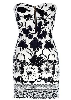 Rock an edgy garden-themed print at your next event and bring your best white pumps to match! Features a chic strapless cut with flattering sweetheart neckline, lightly padded bust with exposed center zipper, monochrome botanical print peppered throughout, and a classy form-fitting silhouette to finish.