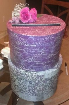 Gift card box we made for a wedding out of hat boxes.