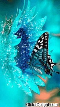 Glitter Graphic.                                             A Beautiful Blue butterfly and blue flower sent with love to my Beautiful Brianna,who loved blue xo