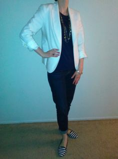 M2Mar15--White cotton sateen blazer (Talbots) over sleeveless blue knit (Ann) over ankle denim (Talbots) with multi-colored stone necklace (Talbots), mixed metal bracelet (BRFW14), gold tone signet ring (BRSS15) and blue and white striped loafers (ON).