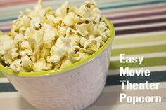 The Secret To Movie Theater Popcorn - Schlosser Designs Popcorn Snacks, Salty Snacks, Popcorn Recipes, Yummy Snacks, Snack Recipes, Movie Theatre Popcorn Recipe, Cinema Popcorn, Edible Creations, Time To Eat