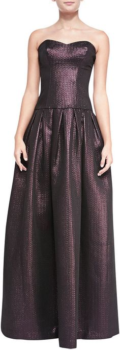 Black Halo Eve Aspen Drop-Waist Shimmery Brocade Gown #gown #purple #bridesmaid #metallic #fashion #dress #strapless