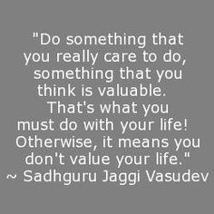 """Do something that you really care to do, something that you think is valuable.  That's what you must do with your life!  Otherwise, it means you don't value your life."" ~ Sadhguru Jaggi Vasudev"