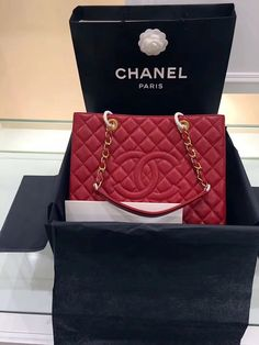 Final Sale CHANEL Grand Shopping Bag Red Caviar leather with Gold hardware  Cruise 2013 f947b008ec4