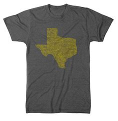 "This is our popular Texas Towns design, AKA ""I've Been Everywhere"" tee. We hand wrote 187 Texas towns in their correct geographic location. This is a one of a kind design that is sure to start up a co"