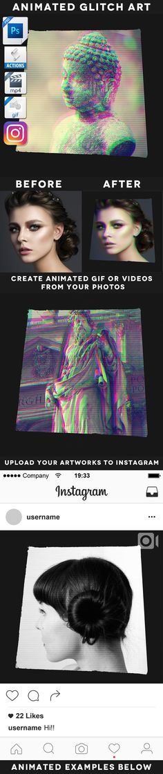 Animated Glitch Art Action — Layered PSD #distortion #gif • Available here → https://graphicriver.net/item/animated-glitch-art-action/19498769?ref=pxcr