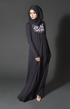 Impressive collection of abaya with flare designs  (5)