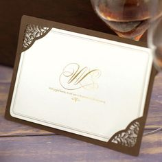 Personalized-Brown-Layered-Laser-Cut-Wedding-Invitations-Cards-Seal-GM103