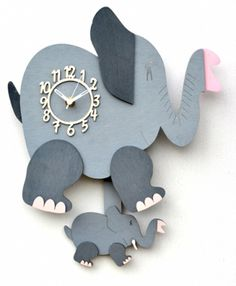 Handmade Wooden Elephant Wall Clock (pendulum clock) - made in the UK
