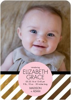 Glowing Arrival - Girl Photo Birth Announcements - Hello Little One - Blushing Pink
