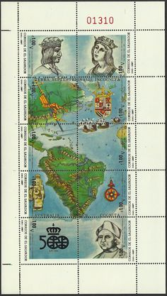 EL SALVADOR Scott C543a-j (21 Dec 1987) Discovery of America sheet of 10 stamps with 15th Century map of the Americas and: a. King Ferdinand b. Queen Isabella c. part of North America d. Coat of Arms & ships e. Caribbean Islands & part of Central America f. ships & part of South America g. pre-Columbian statue h. compass rose i. 500th Anniversary emblem j. Christopher Columbus