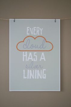 Modern typography silver lining print by dollypegsdesigns on Etsy, £15.50