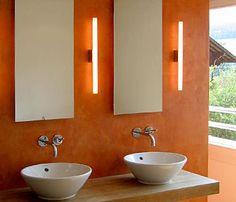 """Résultat de recherche d'images pour """"orange naturofloor"""" Orange, Bathroom Lighting, Sink, Mirror, Images, Home Decor, Bath, Searching, Bathroom Light Fittings"""