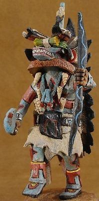 Hopi Hand Carved Ahote Kachina Katsina Doll Sculpture by Milton Howard, hand carved out of genuine cottonwood root.