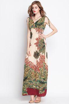 Bohemia Printed V Collar Maxi Dress _Maxi Dress_Dresses_Women's clothing_Wholesale Clothing online from China,Cheap Korean clothes wholesaler