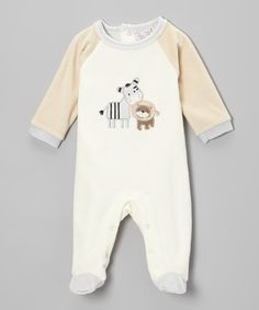 Take a look at this trés beau Layette  Cream & Tan Zebra Velour Footie on zulily today!