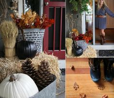 Small Front Porch Decorating Ideas - Craft-Mart Have you ever walked around the block admiring neighbors' fall porch decor ideas and dreaming about creating your own unique look on… Vintage Fall Decor, Rustic Fall Decor, Pumpkin Decorating, Porch Decorating, Decorating Ideas, Decor Ideas, Fall Mums, Small Front Porches, Outdoor Flowers