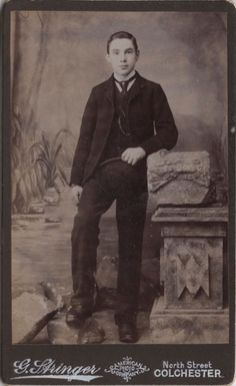 CDV photo of a young victorian man taken in Colchester around late 1890s to early 1900s by G. Stringer at his studio located at 106 North Street.