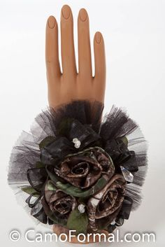 Boutonieres and Corsages for camouflage dresses in Mossy Oak   Home / Camo Corsage, 2 Roses Wrist-Camo