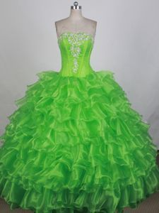 e9f0cf9a6fa Ruffled Layers Strapless Spring Green Beaded Quinceanera Dress Sweet 15  Dresses