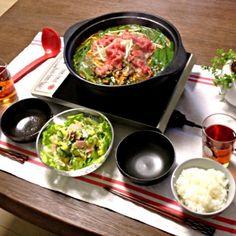 コチュジャン、好きやわぁ。( ̄▽ ̄) - 25件のもぐもぐ - 韓国風すき焼き、ポテトサラダ、ご飯 by pentarou