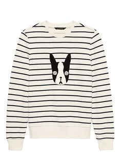 c5455abab1bf Banana Republic Womens French Terry Stripe Sweatshirt White Stripe French  Terry