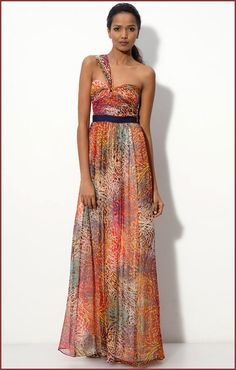 BCBGMAXAZRIA One Shoulder Long Dress