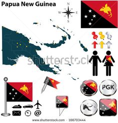 Vector of Papua New Guinea set with detailed country shape with region borders, flags and icons