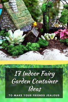 17 Indoor Fairy Garden Container Ideas to Make Your Friends Jealous Indoor Mini Garden, Indoor Fairy Gardens, Fairy Garden Plants, Mini Fairy Garden, Fairy Garden Houses, Gnome Garden, Miniature Fairy Gardens, Fairies Garden, Mini Gardens