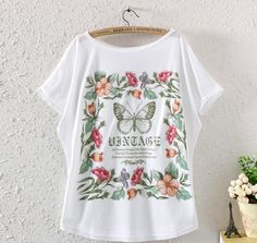 FASHION SUMMER WOMEN BATWING SLEEVE BUTTERFLY GRAPHIC PRINTED T SHIRT LOOSE TOPS