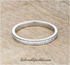 Teresa Clear Silver Eternity Stackable Ring   1ct   Cubic Zirconia   Stainless Steel » Beloved Sparkles   Fine Cubic Zirconia Jewelry   Crystal Hair Accessories