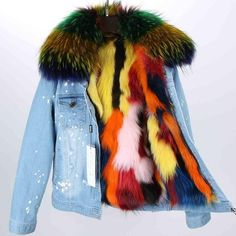 Real Fox Fur Lining Denim Jacket Coat Women Winter Coat Jacket Denim, 10 / S Denim Jacket With Fur, Fur Collar Jacket, Madrid, Winter Coats Women, Fur Fashion, Fur Collars, Military Fashion, Ideias Fashion, Outfits