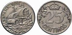 25 céntimos de Alfonso XIII - Alfonso XIII acuña esta moneda de 25 céntimos, en la que no aparece por ninguna parte su nombre, tiene un peso de 7 gramos y mide 25mm. Anverso: ESPAÑA 1925 y un barco a toda vela. Reverso: valor 25 CENTIMOS coronado entre ramas.
