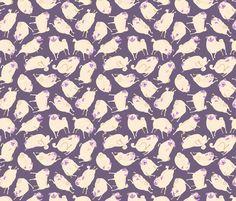 """Purple Pugs 4-6"""" fabric by inkpug on Spoonflower - custom fabric"""