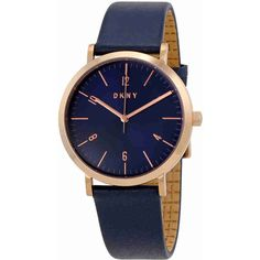 DKNY Minetta Blue Dial Ladies Leather Watch ($79) ❤ liked on Polyvore featuring jewelry, watches, leather jewelry, quartz movement watches, leather watches, analog watches and dial watches