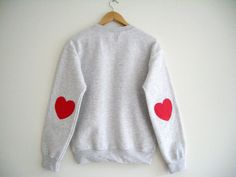 Grey Sweater Pink Hearts Elbow. Hipster Sweater by HappySweaters, €24.00