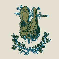 Sword & Dinosaur. — #inktober #2016 #dinosaur #coat #arms #coatofarms #illustration #screenprint #tattoos #silkscreen — Daily Illustration